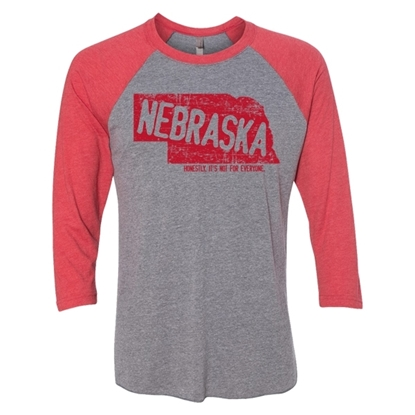 Picture of Nebraska Not For Everyone Three-Quarter Sleeve Raglan Tee