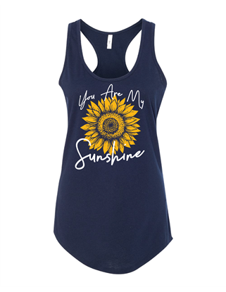 Picture of You Are My Sunshine Ladies Gathered Back Racerback Tank