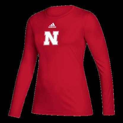 Picture of Nebraska Adidas® Ladies Locker Side by Side Creator Long Sleeve Shirt