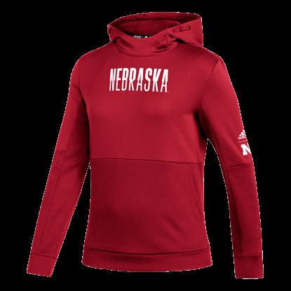Picture of Nebraska Adidas® Ladies Split Name Team Issue Hooded Pullover