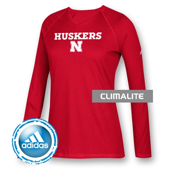 Picture of Nebraska Adidas® Sideline Split L/S Tee | Ladies