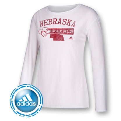 Picture of Nebraska Adidas® Slogan L/S Tee | Ladies