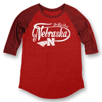 Picture of Nebraska Heritage Triblend Ragland | Ladies