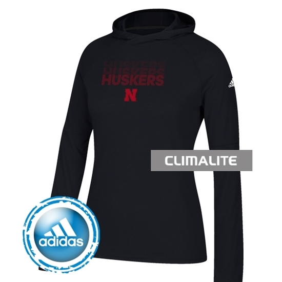 Picture of Nebraska Adidas® Ladies Repeat Stack Ultimate Long Sleeve Hood