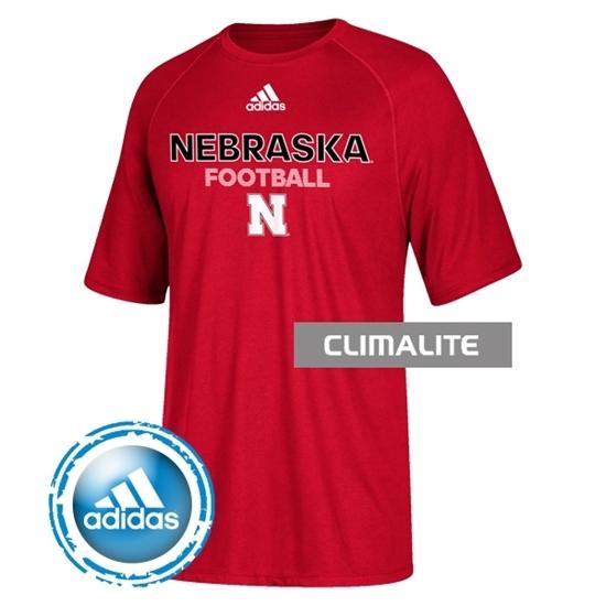 Picture of Nebraska Adidas® Youth Football Sideline Rush Climalite Short Sleeve Shirt