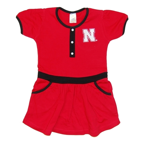 Picture of Nebraska Little King® Toddler Team Color Button Dress