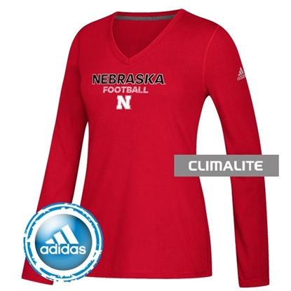 Picture of Nebraska Adidas® Ladies Football Sideline Rush Ultimate Long Sleeve Shirt