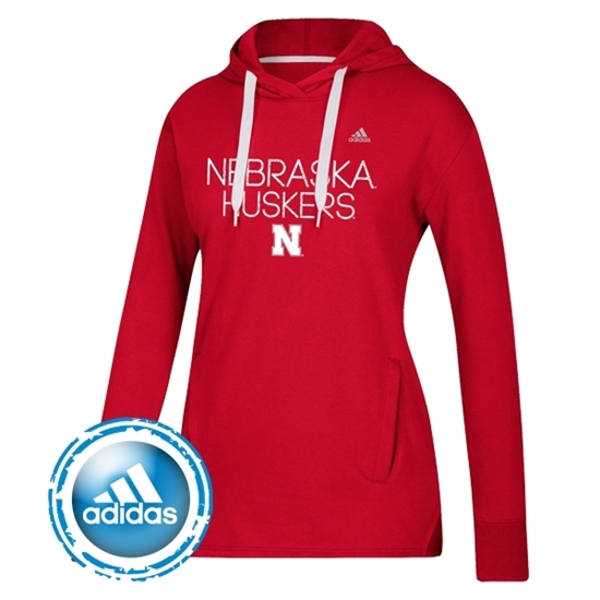 Picture of Nebraska Adidas® Ladies Silver Dot Fleece Hood