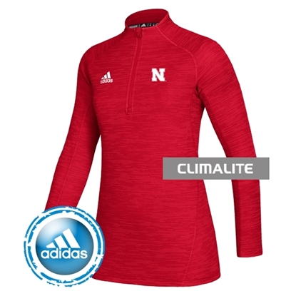 Picture of Nebraska Adidas® Ladies Game Mode Long Sleeve Knit ¼ Zip Pullover