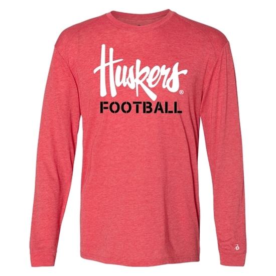 Picture of Nebraska Football Tri-Blend Performance Long Sleeve Shirt (NU-245)