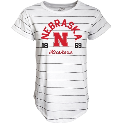 Picture of Nebraska Blue 84® Ladies Nora Striped Tee