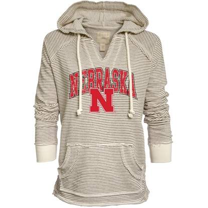 Picture of Nebraska Blue 84® Ladies Striped French Terry V-Neck Hoodie
