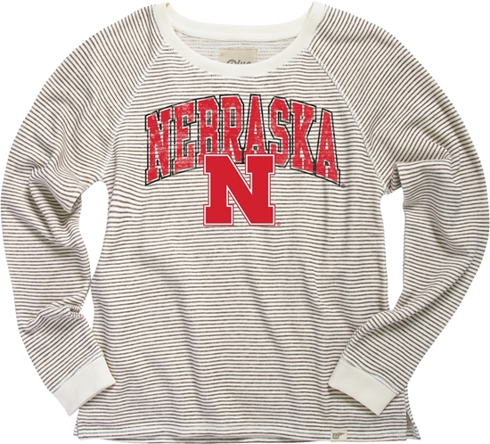 Picture of Nebraska Blue 84® Ladies Striped French Terry Crew