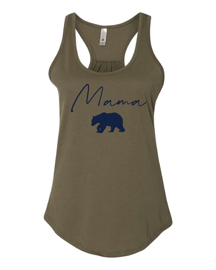 Picture of Mama Bear Ladies Gathered Back Racerback Tank