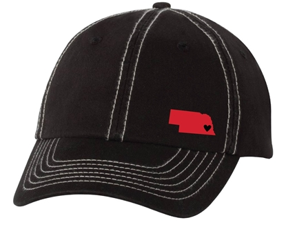 Picture of Nebraska Heart Contrast Stitch Classic Dad Cap