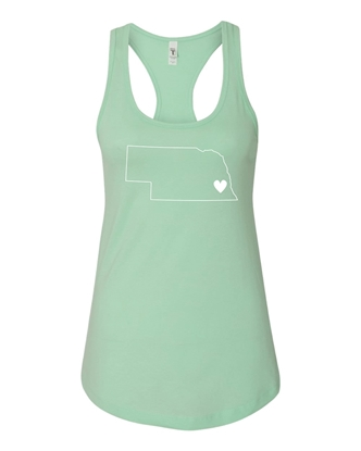 Picture of Nebraska Heart Racerback Tank