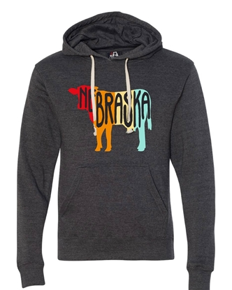 Picture of Nebraska Retro Cow Triblend Hoodie
