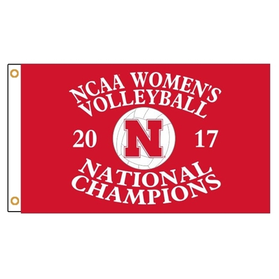 Picture of Nebraska Volleyball Dye Sublimated Flag Red