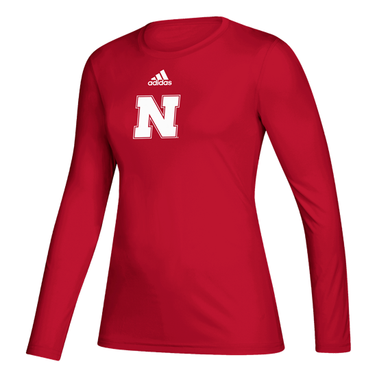 Picture of Nebraska Adidas® Ladies Locker Side by Side Creator Long Sleeve Shirt
