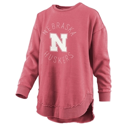 Picture of Nebraska Pressbox®  Ladies Vintage Wash Poncho Sweatshirt